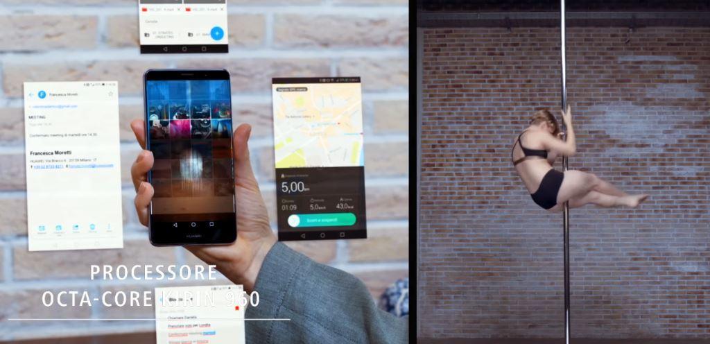Pubblicità Huawei Mate 9 con Pole Dancer - Foto testimonial Spot 2016