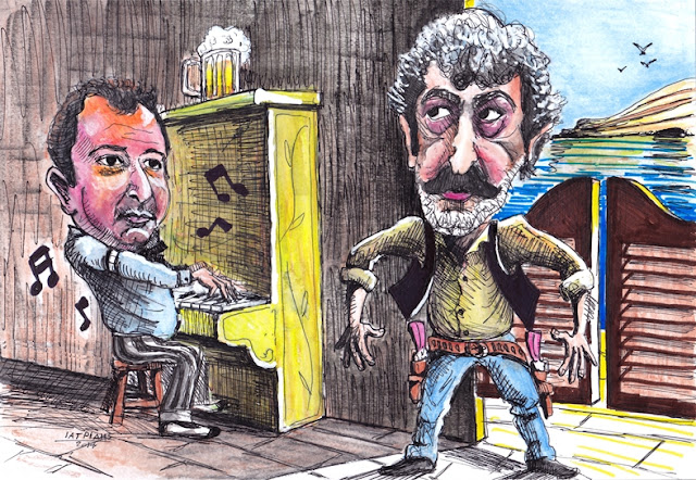 "IaTriDis Γελοιογραφία για την εφημερίδα Άποψη του Νότου, Κρήτη, με θέμα την ""βεντέτα"" μεταξύ Παύλου Πολάκη και Δημήτρη Καμπουράκη."