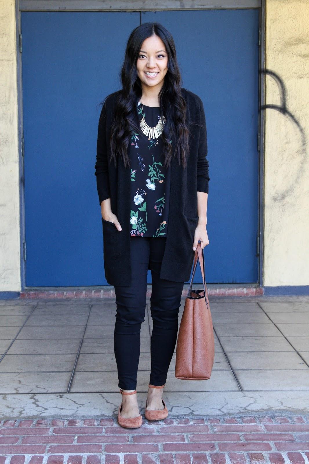 Floral Shirt + Black Cardigan + Black Skinnies + Red Flats + Statement Necklace