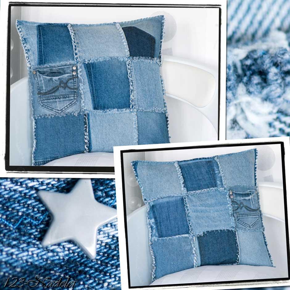 kissen aus jeans naehen, 123-nadelei: jeans-kissenbezug im ragtime-style, Design ideen