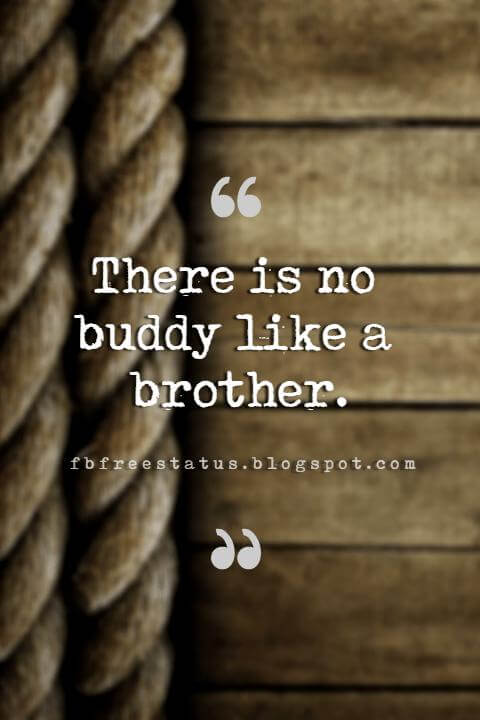 quotes about brothers, There is no buddy like a brother.