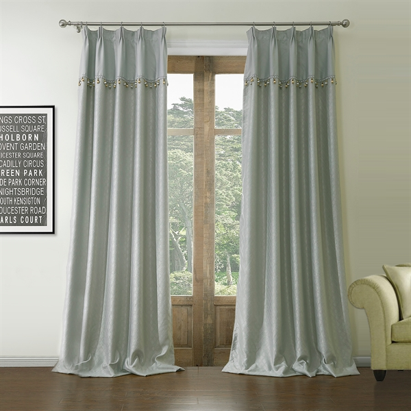 Room Darkening Curtain Jacquard Grey Geometric Polyester & Cotton Custom Curtain - 560 (One Panel)