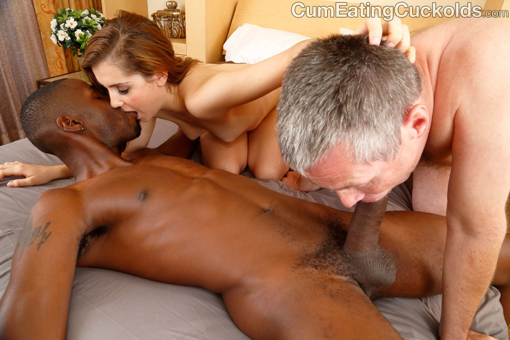 Wife makes hubby suck black cock