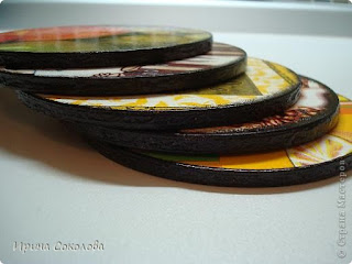 Подставки под чашки из CD- дисков (декупаж)