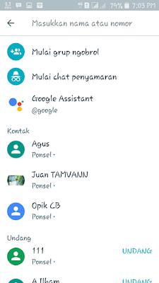Tampilan daftar kontak google allo