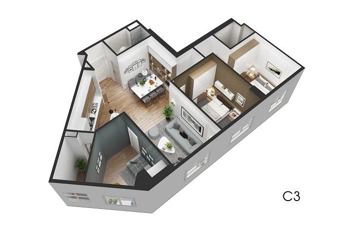 Thiết kế căn hộ C3 Eco City