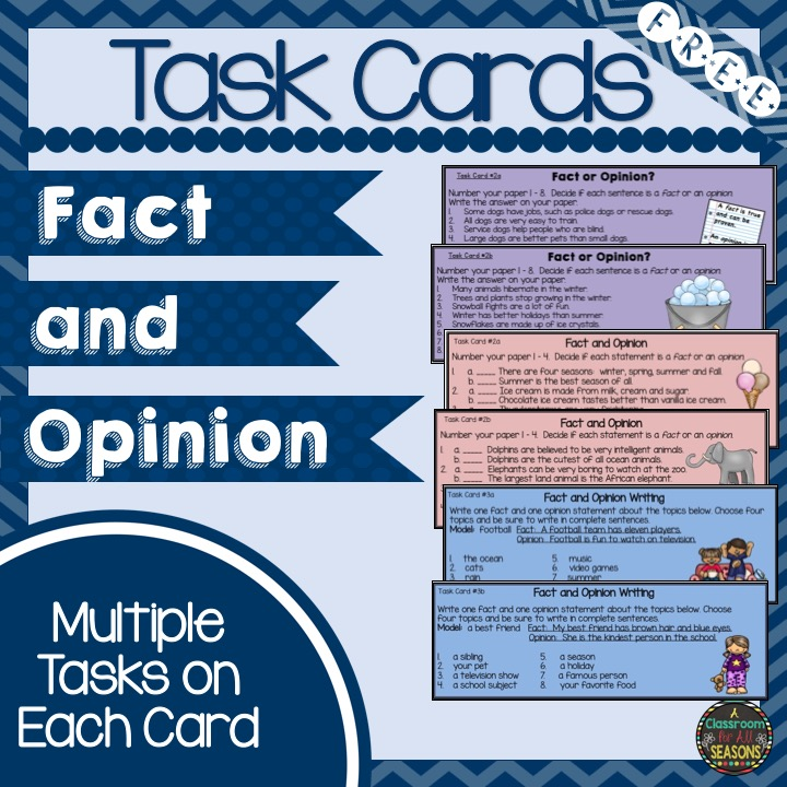 Classroom Freebies Too: Fact And Opinion Task Cards