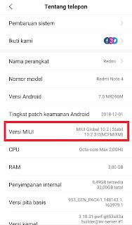 Versi MIUI di Android Xiaomi