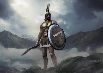 Spartano de Total War Arena subido en una montaña con montañas de fondo y niebla