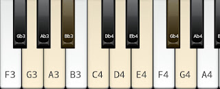 Melodic minor scale on key G