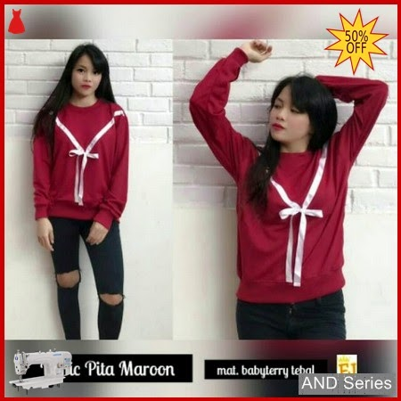 AND377 Sweater Wanita Basic Pita Merah Maroon BMGShop