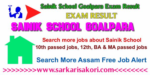Sainik School Goalpara Entrance Exam Result