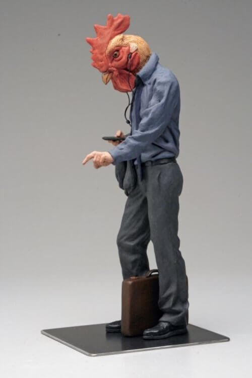 13-Rooster-Alessandro-Gallo-Clay-Sculptures-of-Human-Animal-Hybrids-www-designstack-co