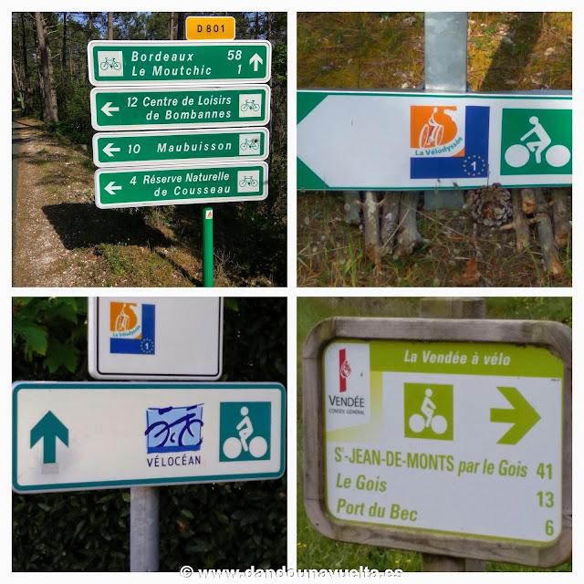 Señalización en La Velodyssee, Francia