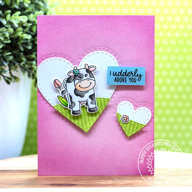 Sunny Studio Stamps: Miss Moo Stitched Hearts Spring Greetings Love Themed Card by Eloise Blue