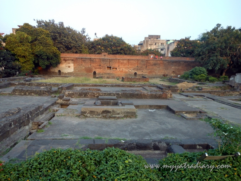 Stone remnants at Shaniwar wada fort, Pune