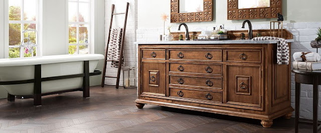 kamar mandi eksotis meja kayu klasik