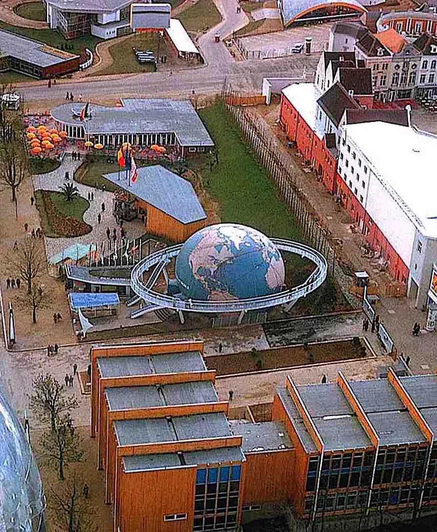 he 1958 Worlds Fair in Belgium, a birdseye view color photograph