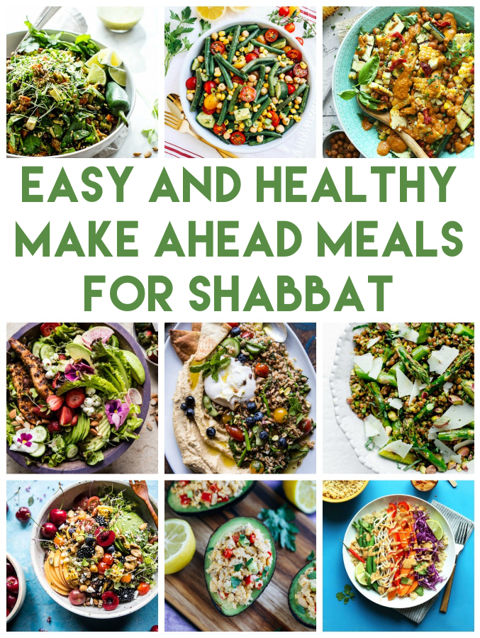Lots of ideas for healthy Shabbat meals that you make ahead of time and serve later. Lots vegetarian and gluten free ideas too! | Land of Honey