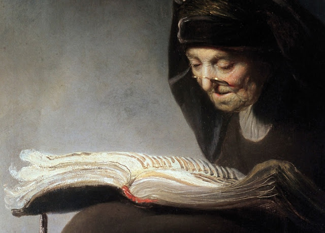 """""""Mulher velha lendo"""" (1631) de Rembrandt"""