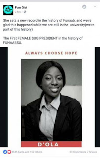 FUNAAB Gets First Female SUG President, Sets New Record
