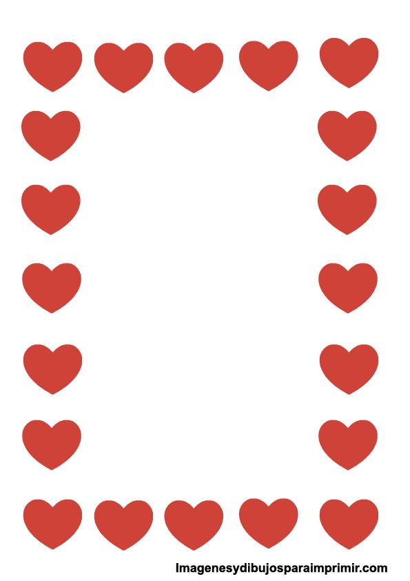 Borde de hoja con corazones