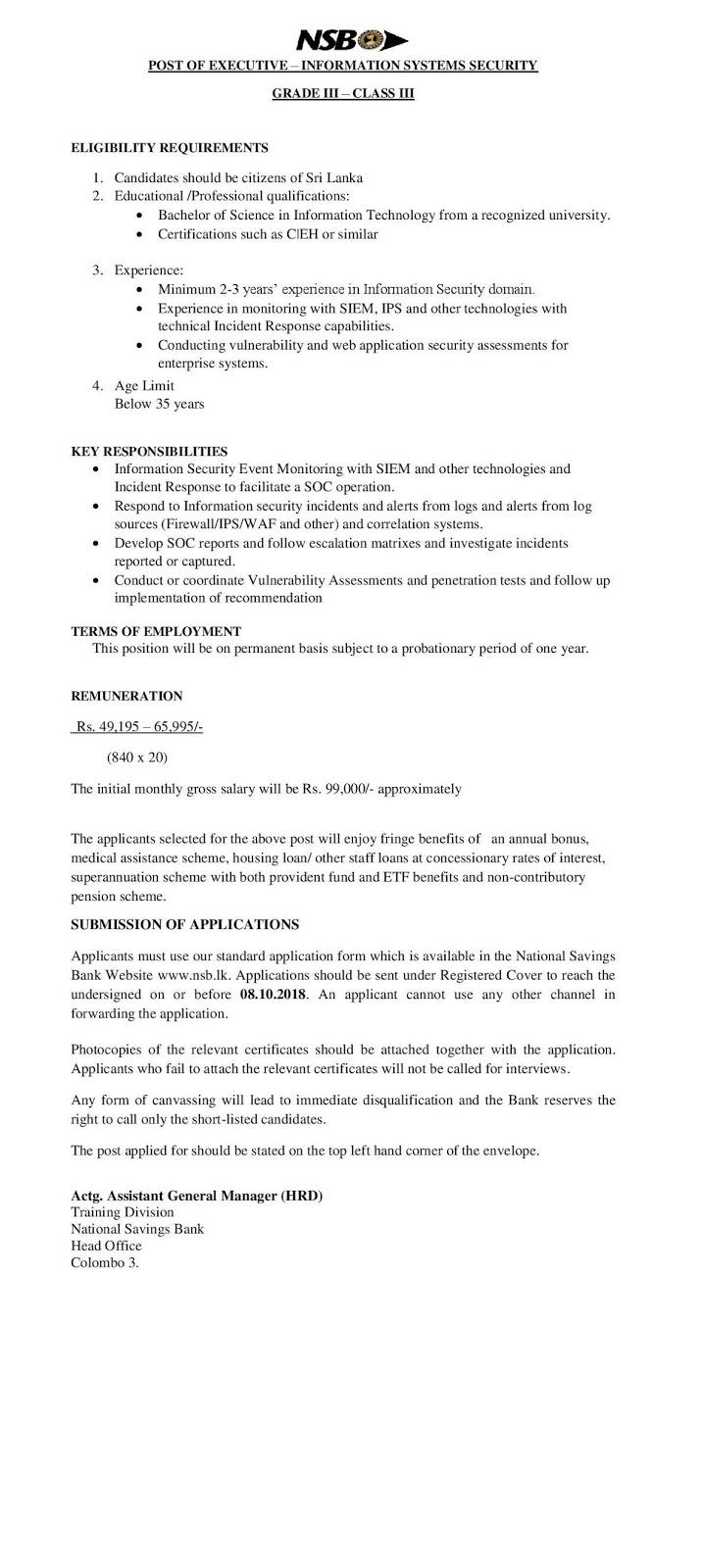 Executive - Information System Security - National Saving Bank
