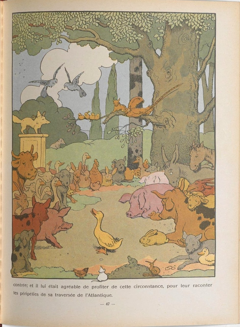 full page colour book illustration of domestic (talking) animals under a tree