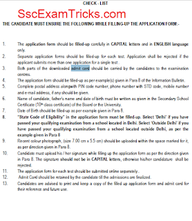 Delhi CET 2016 Exam Instructions
