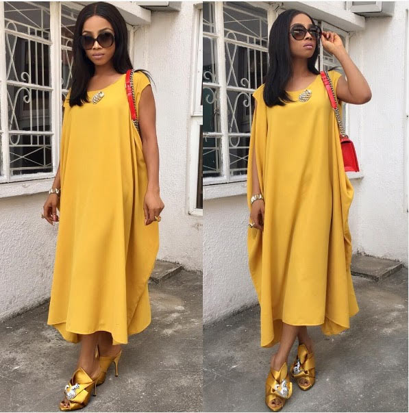 Toke Makinwa steps out in stylish yellow gown