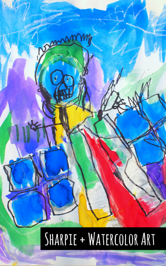 Sharpie + Watercolor Art- Easy Preschool Robot Art