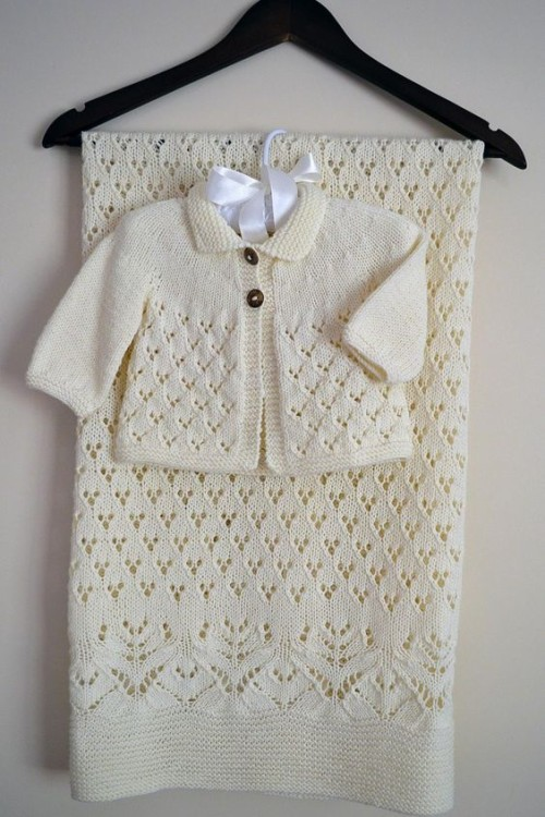 Lace & Diamond Heirloom Blanket & matching Jacket - Knitting Pattern