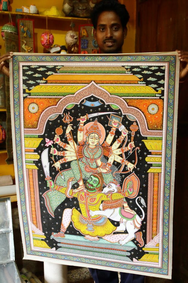 Exquisite miniature art of Goddess Durga created at Raghurajpur, Odisha