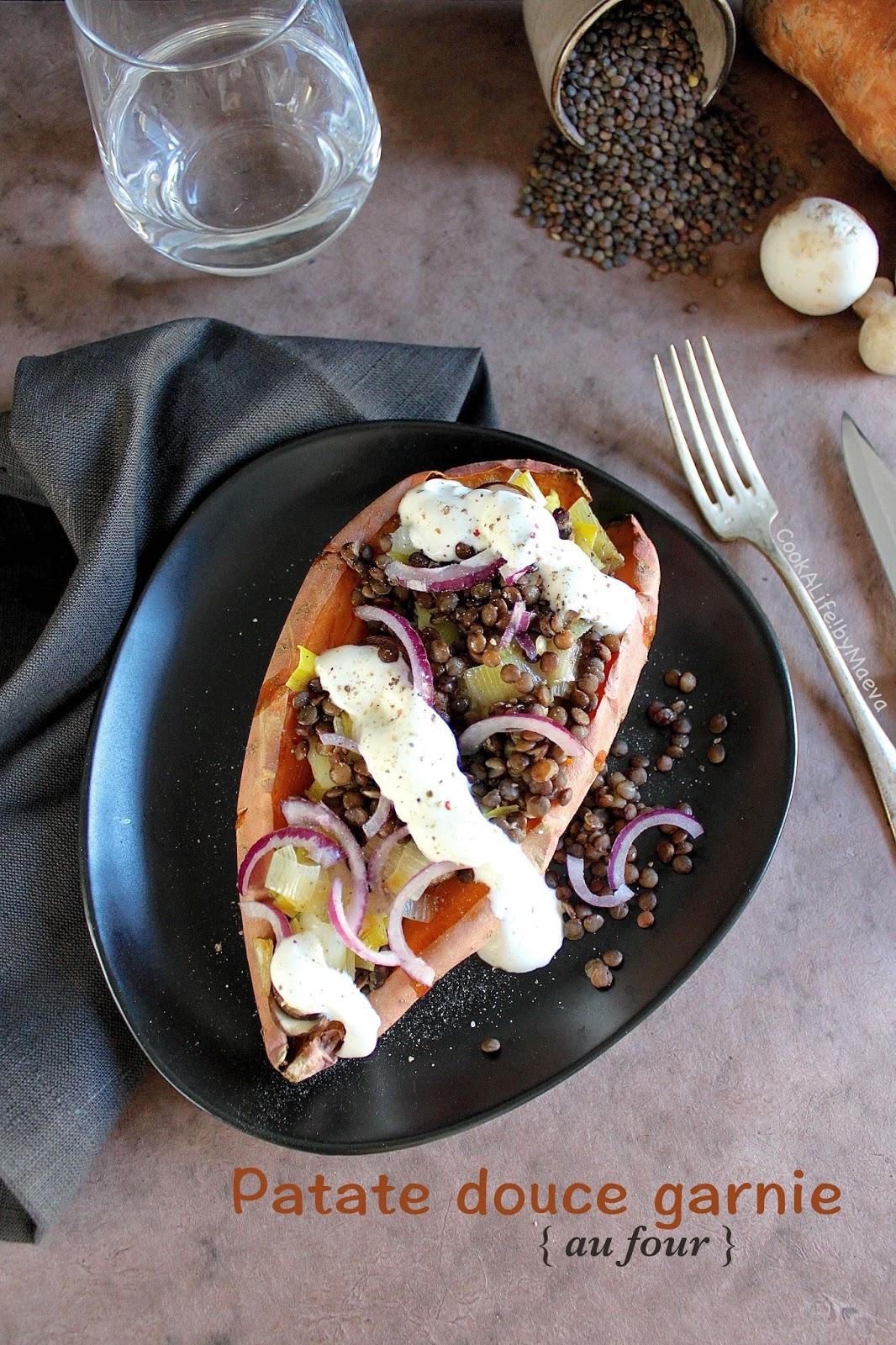 cook a life by maeva patate douce au four garnie de lentilles poireau champignons et oignon. Black Bedroom Furniture Sets. Home Design Ideas