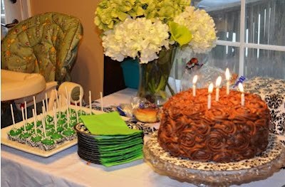 Green and Damask Birthday Party