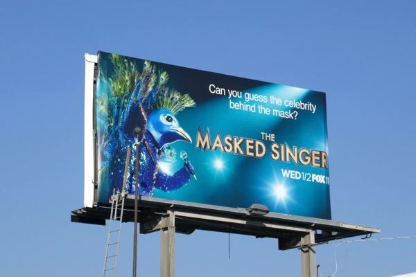Masked Singer peacock billboard