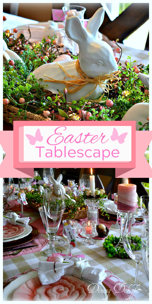 Dining delight pink white easter tablescape for Restaurants serving easter brunch near me