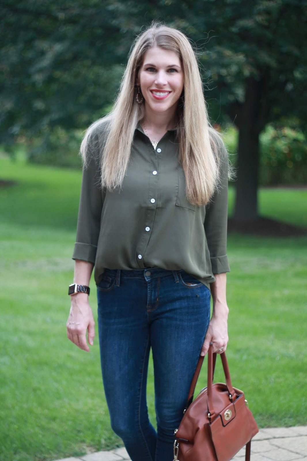 olive button up top, Old Navy rockstar jeans, blush loafers