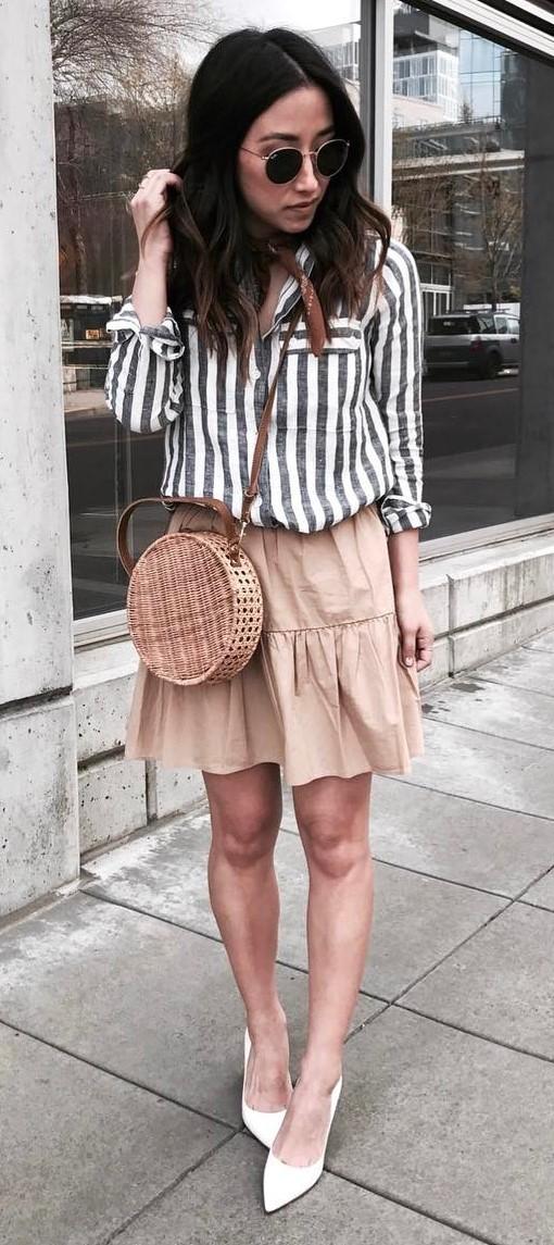 summer ootd: shirt + bag + skirt