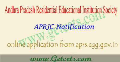 APRJC notification 2020 - 2021 pdf for Inter admissions
