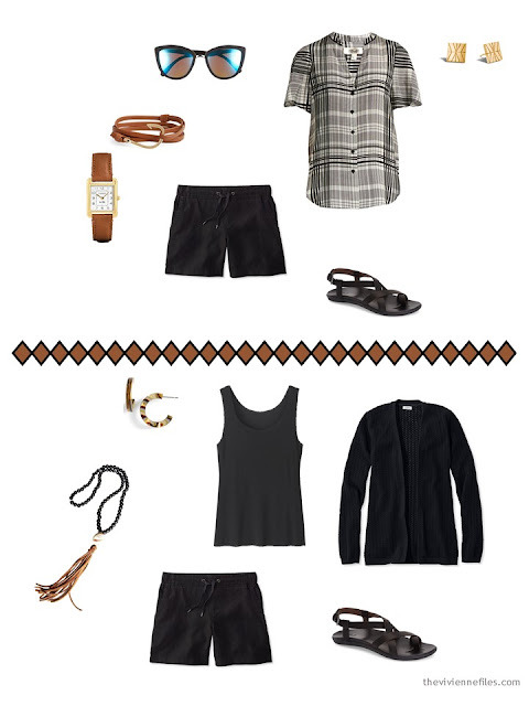 two ways to wear black shorts from a 9-piece travel capsule wardrobe for warm weather
