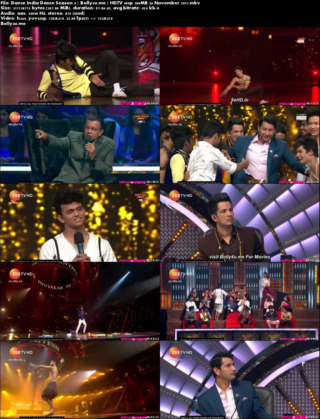 Dance India Dance Season 6 HDTV 480p 200MB 26 November 2017 Download