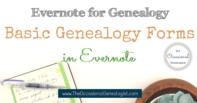 Evernote genealogy forms. Pedigree chart in Evernote, family group sheet in Evernote