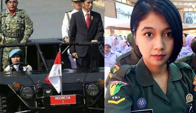 TNI Cantik jadi Pengemudi Mobil Inspeksi Presiden Jokowi untuk Pertama Kali