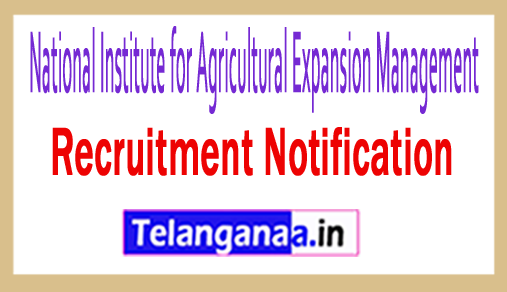 National Institute for Agricultural Expansion Management (MANAGE) Recruitment