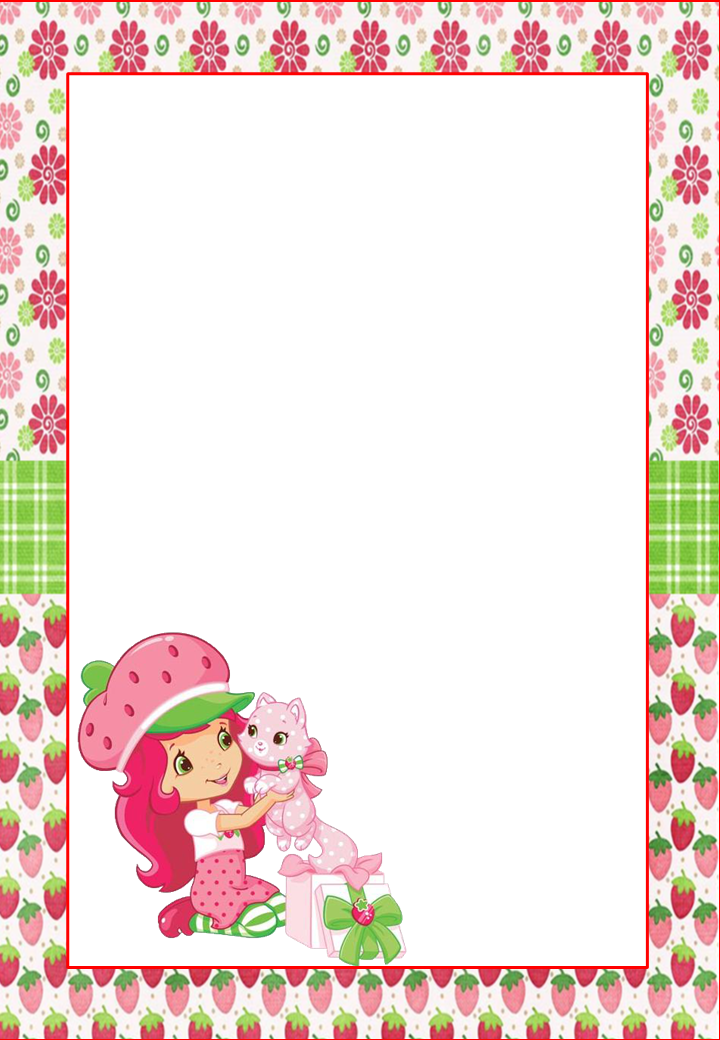 strawberry shortcake free printable frames invitations or