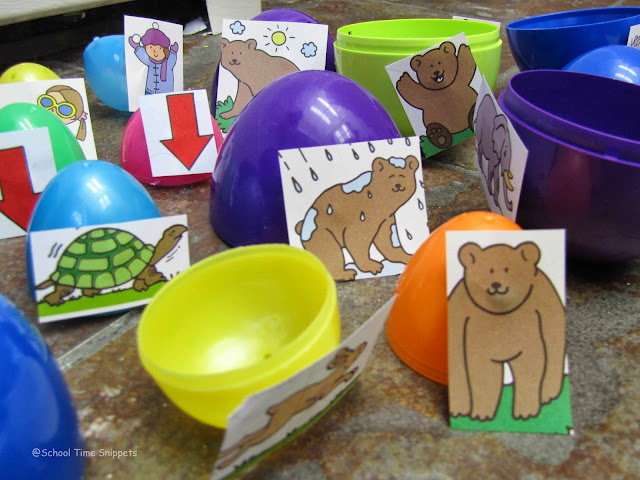 preschool opposites game with easter eggs