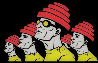 Ilustración que muestra a 4 hombres con el sombrero rojo descrito anteriormente (Devo Hat)