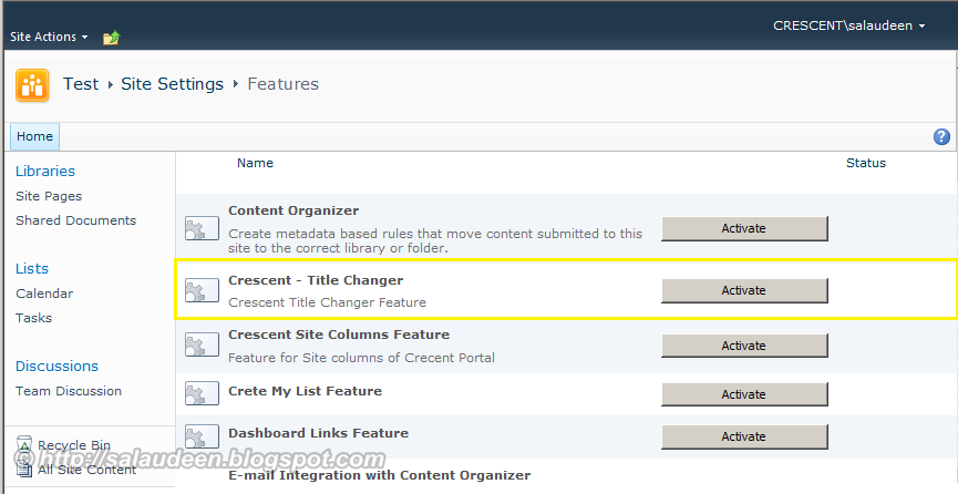 how to deactivate a feature in sharepoint 2010
