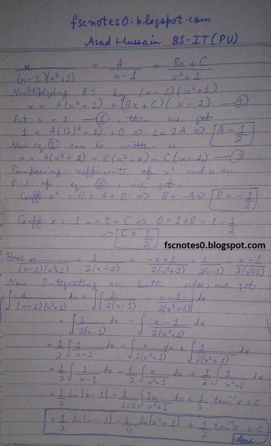 FSc ICS Notes Math Part 2 Chapter 3 Integration Exercise 3.5 question 12 - 22 by Asad Hussain 7